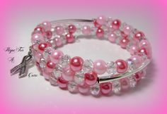 Silver Cancer Awareness Ribbon Charm Beaded Pink Faux Crystal Triple Wrap Memory Wire Bracelet #61