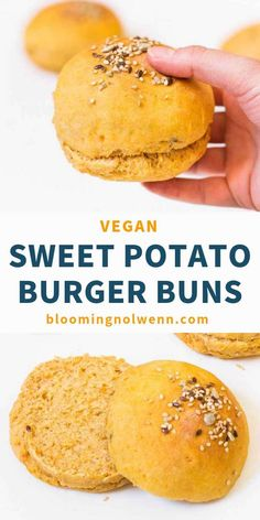These vegan Sweet Potato Burger Buns are easy to make, soft, fluffy and delicious. They are great to make vegan burgers for a party, a picnic or a brunch. Vegan Sweet Potato Burger, Sweet Potato Bread, Vegan Sweet Potato Recipes, Potato Bun Recipe, Vegan Hamburger Buns, Brunch, Burger Bread, Vegan Recipes, Cooking Recipes