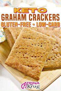 Graham Cracker Recipes, Gluten Free Graham Crackers, Low Carb Crackers, Keto Crackers Recipe, Low Carb Keto, Low Carb Recipes, Galletas Keto, Biscuits, Comida Keto