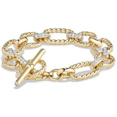 David Yurman Cushion Chain Link Bracelet with Diamonds in 18K Gold ($9,500) ❤ liked on Polyvore featuring jewelry, bracelets, gold, gold diamond bangle, diamond bangles, 18k bangle, gold bangles and david yurman