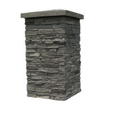 NextStone Slatestone Column Wrap-sq ft Pewter Faux Stone Veneer at Lowe's. Lightweight polyurethane decorative faux stone 4 piece column wrap is easy to install and provides a beautiful stone appearance to any feature. Faux Stone Veneer, Trek Deck, Brick Wall Paneling, Iron Spindles, Column Wrap, Concrete Column, Stone Driveway, Airstone, Stone Pillars