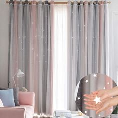 Hughapy Star Curtains Stars Kids Curtains for Bedroom Tulle Overlay Double Layer Star Cut Out Blackout Curtains, 1 Panel - x Inch, Pink & Grey) Girls Bedroom Curtains, Home Curtains, Curtains Living, Curtains With Blinds, Room Decor Bedroom, Bedroom Curtains Blackout, Double Curtains, Curtain Designs, Curtain Ideas