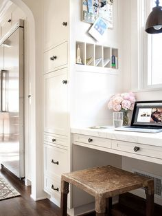 Mess-Free Message Center  Having a home office or message center in the kitchen can be extremely helpful. However, without sufficient storag...
