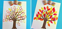 Manualidades con niños: árbol estampado #otoño #autumn #fall Kids Crafts, Arts And Crafts, Spanish Activities, Preschool Activities, Tiy Dye, Grade 1 Art, Kids And Parenting, Art For Kids, Origami