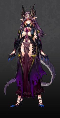character design practice by Melonplus Tsao. Sucubus Anime, Art Anime, Anime Demon, Anime Art Girl, Fantasy Character Design, Character Inspiration, Character Art, Fantasy Girl, Fantasy Characters