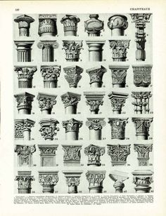 """Antique print taken from the """"Encyclopédie Larousse"""", Paris, France. Pretty thick paper, not too glossy. The reverse side is printed.  Page size is apprx 23,5 x31,5 cm (9,2... #dictionary #larousse #capitals #columns #pilaster"""