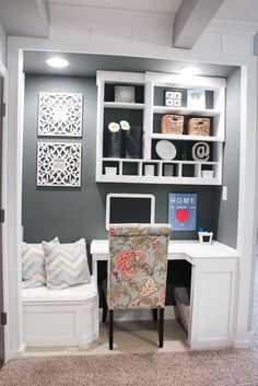 Home Office Ideas With Couch Closet.Mid Century Desk Home Office Midcentury With Area Rug . Tiny Backyard Home Office With Deck And Table 2015 Fresh . Sofa Table As Desk Ideas Pictures Remodel And Decor. Home and Family Closet Office, Home Office Space, Home Office Decor, Office Ideas, Desk Ideas, Tiny Office, Office Furniture, Hallway Closet, Closet Space