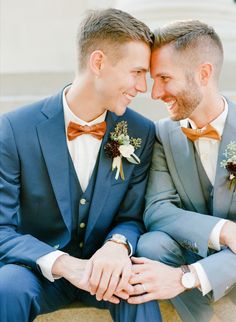 Same Sex Wedding Lesbian Wedding, Wedding Couples, Wedding Photos, Masculine Wedding, Navy Suits, Monstera Leaves, Cute Gay Couples, Georgia Wedding, Gay Proposal