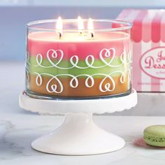 New Just Desserts Layered 3 Wick Jar.  Apple Strudel, Lemon-Lime Macaroon and Marshmallow Peppermint all in one candle! www.partylite.biz/heatherpowell