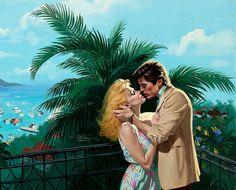 """Robert Maguire Nothing like a tender moment of romance in a tropical setting. This painting appeared on the cover of the paperback """"Just A Kiss Away"""" by Natalie Bishop."""