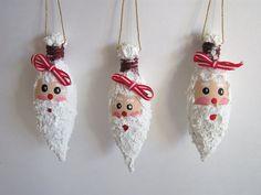 SANTA LIGHT BULB Christmas Ornaments