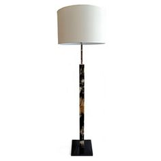 Polished horn floor lamp on black lacquer base with polished nickel accents. Custom shade is included in the price.