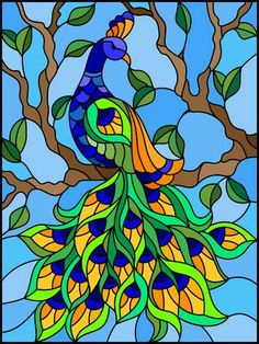 - Millions of Creative Stock Photos, Vectors, Videos and Music Files For Your Inspiration and Projects. background Illustration in stained glass style bird peacock and tree branches. Stained Glass Paint, Stained Glass Birds, Stained Glass Designs, Stained Glass Projects, Stained Glass Patterns, Glass Painting Patterns, Glass Painting Designs, Paint Designs, Peacock Painting