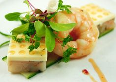 Duo of Shrimp with Horseradish Panna Cotta, Spicy Tomato Gastrique, Savory Cracker, Micro Greens