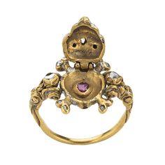 Skull Memento Mori Locket Ring  British, 17th century  Gold, enamel, diamonds, and ruby  MET