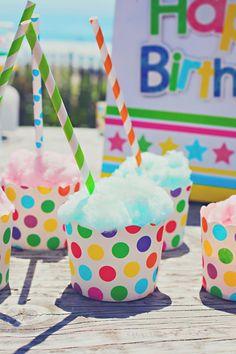 CUTE idea! Cotton candy in cupcake liners! Lots of Cute Ideas via Kara's Party Ideas KarasPartyIdeas.com