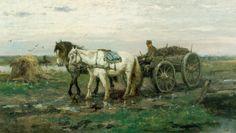 Johan Frederik Cornelis Scherrewitz (Amsterdam 1868-1951 Hilversum) Boer met paard en kar op landweg -  Kunsthandel Simonis en Buunk, Ede (Nederland).