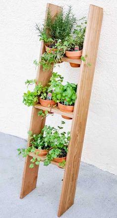 Transformer une échelle en bois en jardin potager suspendu