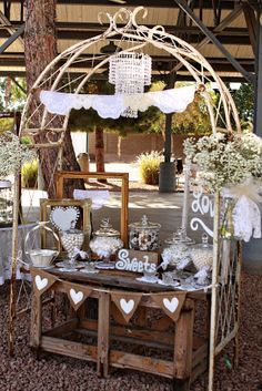 Candy bar under a trellis - we would have to change it up a bit for fall but I like this.uncle Terry could build another to look like the one you want to use for the wedding :) Wedding Rentals, Elope Wedding, Rustic Wedding, Hessian Wedding, Dream Wedding, Vintage Dessert Tables, Candy Buffet Tables, Candy Table, Outdoor Wedding Inspiration