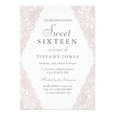 Pretty Pink Vintage Lace Sweet 16 Invitation - birthday cards invitations party diy personalize customize celebration
