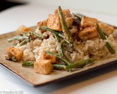 A simple vegetarian recipe using tofu, green beans and eggplant. Great flavor and takes less than an hour start to finish!