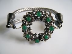 Up-Cycled Brooch Bracelet/ Double TV Cable Cuff/ Coax2cuff/Repurposed vintage pin/rescued TV cable/ Green Stones on Filigree Pewter Ring by OnlyForMeJewelry on Etsy