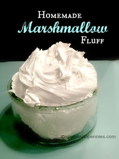 This recipe creates homemade marshmallow fluff which is superior to the store bought kind! Learn how to make your own marshmallow fluff today! This recipe creates homemade marshmallow fluff which is superior to the store bought ki Just Desserts, Delicious Desserts, Dessert Recipes, Yummy Food, Fudge Recipes, Candy Recipes, Healthy Food, Homemade Marshmallow Fluff, Homemade Marshmallows