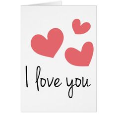 I Love You Red Hearts Wedding Valentines Card - love cards couple card ideas diy cyo