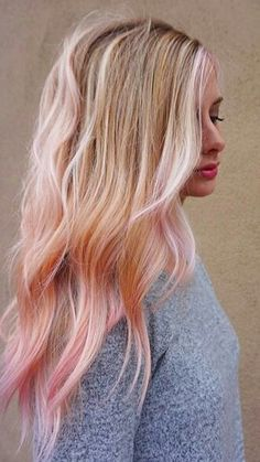 Pops of Pink ,Pastel pink pops. Seriously try this if you can! Hair Color, Hair Styles, Hair Stylists, balayage, beauty, blonde, hair, hairstyles, PINK HAIR