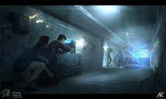 At some point in the story, the main protagonists are busted in their safe house. However, they can handle themselves, mostly due to an efficient machine gun and a couple of elector-magnetic motion-sensor explosives planted around the apartment (in case the opponents have cybernetic enhancements or are pure androids).