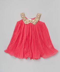 Hot Pink & Gold Sequin Collar Swing Dress #zulily #zulilyfinds