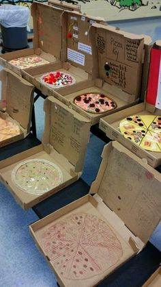 Fraction math skill: Love this idea. Each student gets a pizza box and the directions to make a pizza representing fractions with different toppings. Fun way in getting students motivated in working on fractions. Pizza Fractions, Teaching Fractions, Teaching Math, Fractions Year 3, Fractions Ks2, 3rd Grade Fractions, Equivalent Fractions, Multiplication, Fractions Of Shapes
