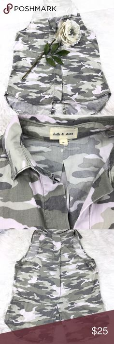 """💕SALE💕Anthropologie Camo Sleeveless Top Fabulous Anthropologie Camo Sleeveless Hi Low Top 28"""" from the top of the shoulder to the bottom 20""""from armpit to armpit Anthropologie Tops"""