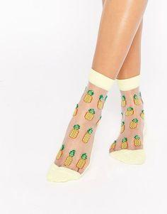 Socks: cute socks, mesh socks, sheer, pineapple print, pineapple, fruits - Wheretoget