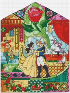 Beauty and the Beast Stained Glass Coloring Page Luxury Buy 2 Get 1 Free Beauty and the Beast Disney Stained Glass Disney Stained Glass, Stained Glass Christmas, Stained Glass Art, Disney Cross Stitch Patterns, Cross Stitch Charts, Cross Stitching, Cross Stitch Embroidery, Cross Stitch Fairy, Stain Glass Cross