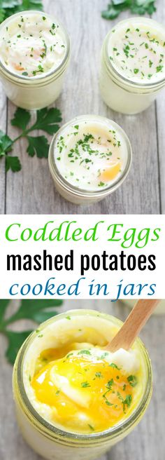 Coddled Eggs with Mashed Potatoes in Jars