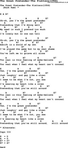 Song The Great Pretender-The Platters(1956), with lyrics for vocal performance and accompaniment chords for Ukulele, Guitar Banjo etc.
