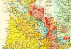 1950 Carte geologique du Bassin Aquitain - Geologie des Pyrenees - Planche Originale - Atlas Geographie Grand Format de la boutique sofrenchvintage sur Etsy