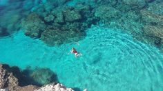 The crystal clear waters of the Blue Lagoon in Ayia Napa, a Mediterranean resort town on the south-east coast of Cyprus