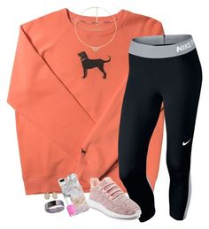 """I'm coming home from my softball game rn"" by amberfmillard-1 ❤ liked on Polyvore featuring NIKE, Recover, adidas, Kendra Scott, Essie and Fitbit"