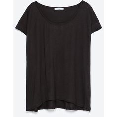 Zara Oversize T-Shirt (€8,75) ❤ liked on Polyvore featuring tops, t-shirts, black, oversized black tee, black tee, black top, oversized tee and oversized t shirts