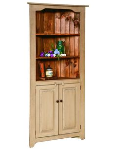 Custom Finished Country Farmhouse Cottage Corner China Kitchen Cabinet Hutch