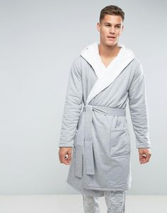 15e3e890c8 ASOS Robe With Fleece Lining In Gray - Gray Asos Men