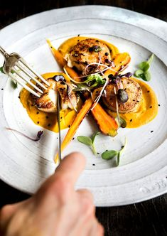 Wild Greens and Sardines : Vadouvan Carrot Puree with Seared Scallops Carrot Puree Recipe, Carrot Recipes, Pureed Food Recipes, Entree Recipes, Seafood Recipes, Gourmet Recipes, Gourmet Appetizers, Gourmet Foods, Scallop Dishes
