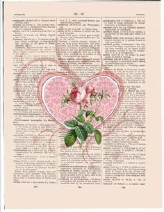 Pink Valentine rose heart print
