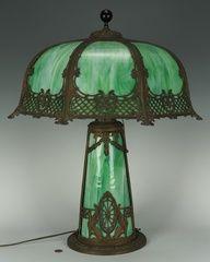 Green Slag Glass Lamp