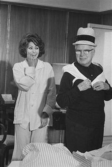 "Director Charlie Chaplin having fun with his star Sophia Loren on the set of ""A Countess from Hong Kong"""