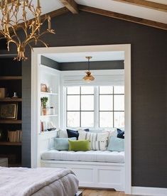 Are you looking for ideas for your window nook? We've got a collection of incredible window nook ideas and designs. Bedroom Nook, Bedroom Windows, Home Decor Bedroom, Bedroom Ideas, Master Bedroom, Bay Windows, Bedroom Colors, Diy Bedroom, Trendy Bedroom