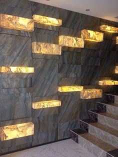 """Translucent stone with Slate-Lite, the paperthin real stone veneer! Let's illuminate the world by stone! Used decor: """"FALLING LEAVES"""" Door Design, Wall Design, House Design, Room Partition Designs, Stone Interior, Marble Wall, Stone Veneer, Staircase Design, Wall Patterns"""
