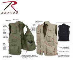 Rothco's Plainclothes Concealed Carry Vest takes the outdoor travel vest to the next level with over 20 different compartments designed for everyday carry and concealed carry and you can find it here. Concealed Carry Jacket, Black Denim Vest, Safari Vest, Motorcycle Vest, Tactical Vest, Everyday Carry, Carry On, Military Jacket, Pouch
